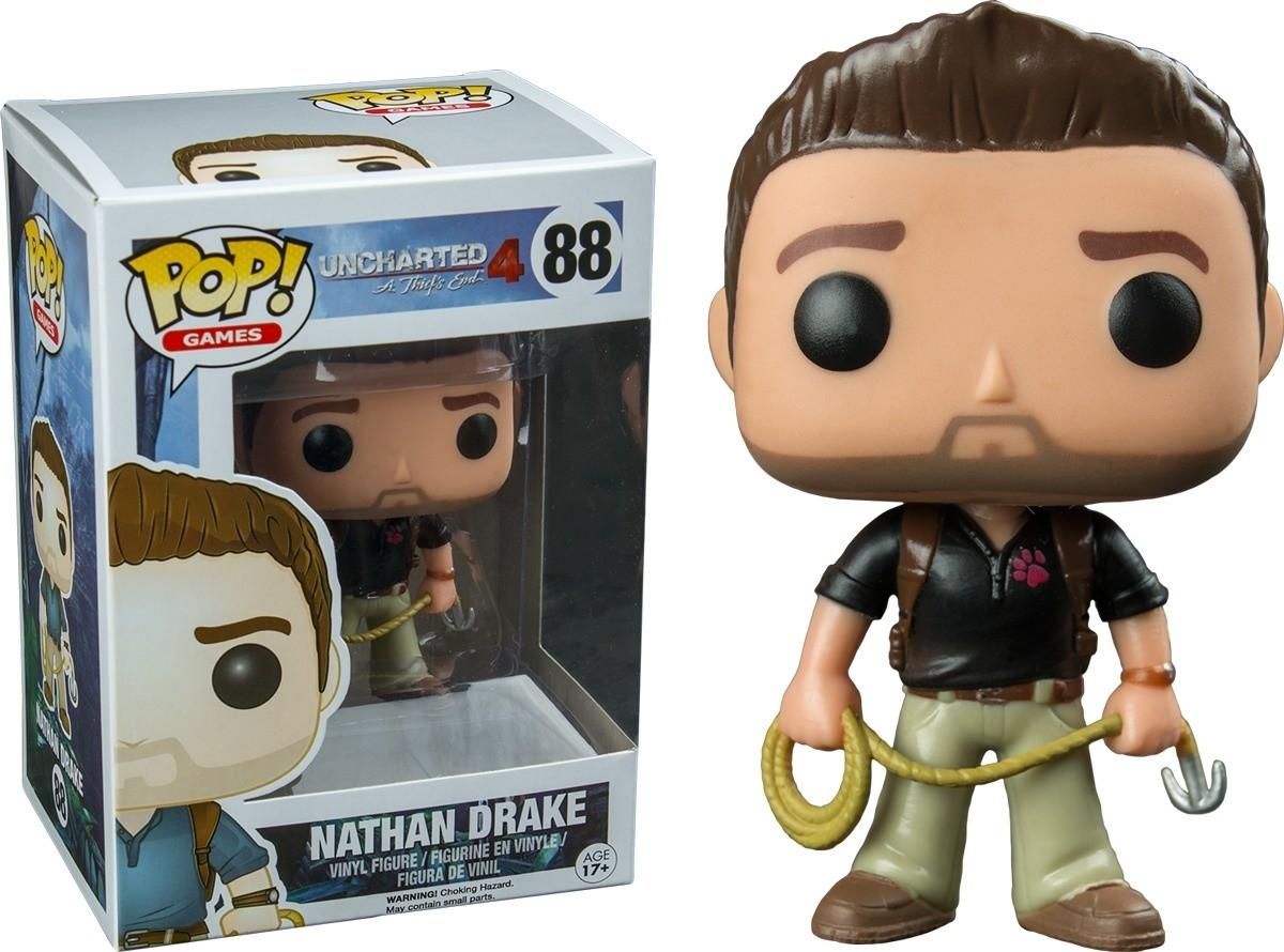 Uncharted Nathan Drake Black Shirt Pop Games Action Figure 88