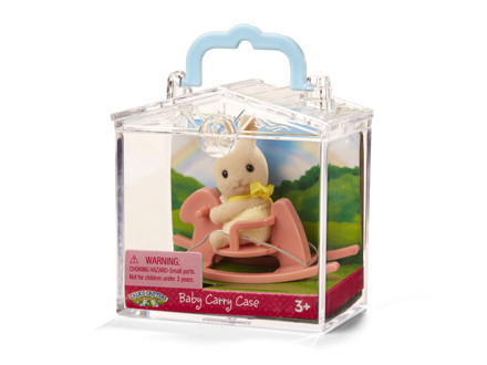 Calico Critters Baby Carry Case Bunny on Rocking Horse