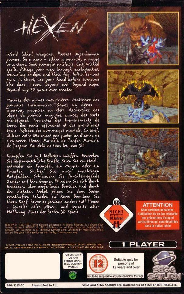 Hexen: Beyond Heretic - Sega Saturn game