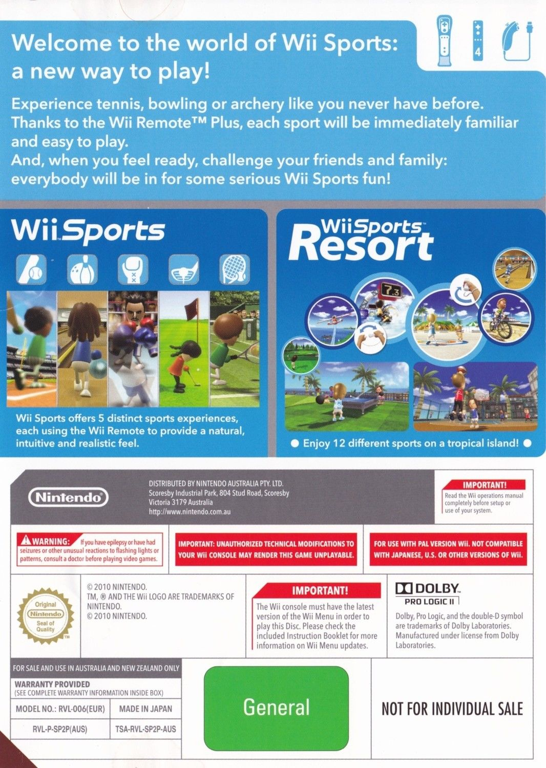 Wii Sports and Wii Sports Resort - Nintendo Wii game