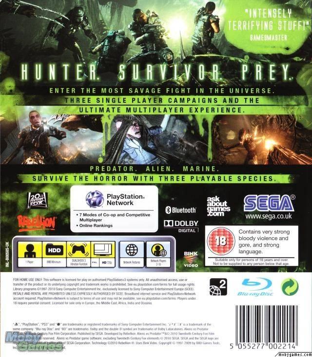 Aliens vs  Predator - PlayStation 3: PS3 game