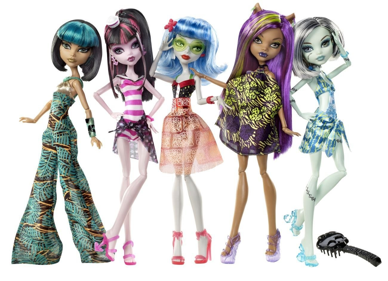 Cleo Draculaura Ghoulia Clawdeen Frankie 5 Pack Skull Shores Monster High Dolls