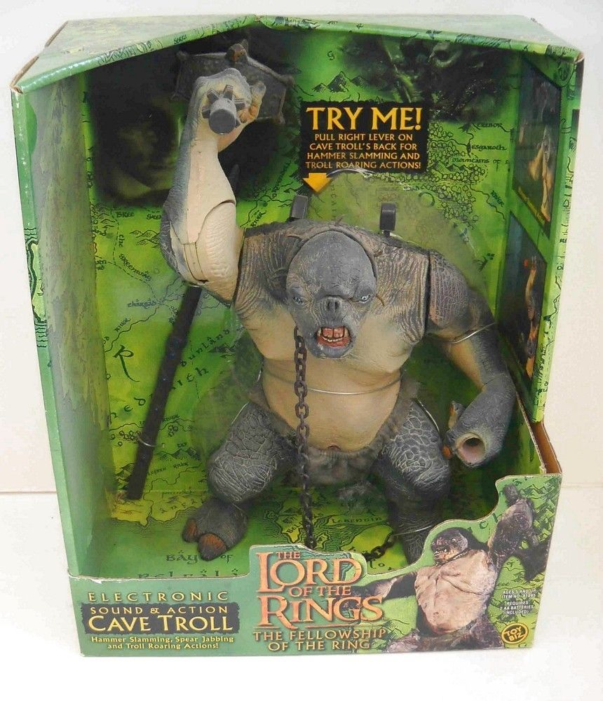 cave troll green box original series lotr action figure